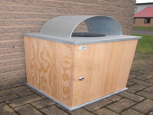 Styled bespoke wood snd steel litter bins,