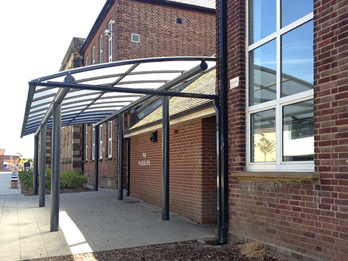Image of curved entrance canopy