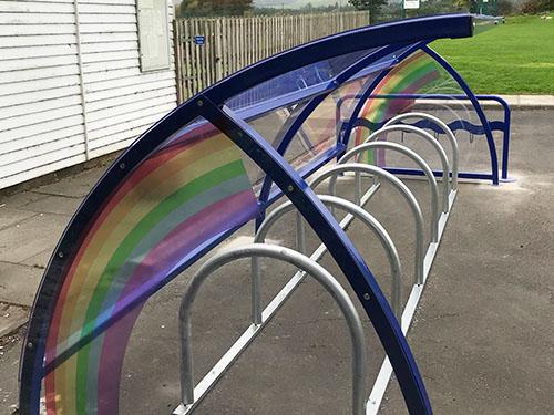 image of rainbow cycle shelter