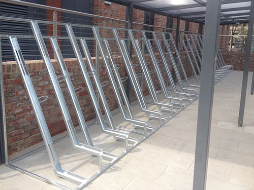 image of semi-vertical cycle racks