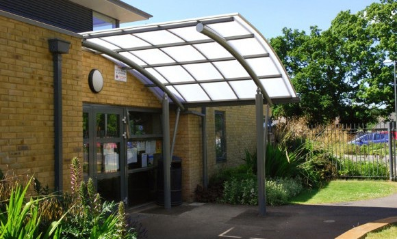 curved entrance canopy